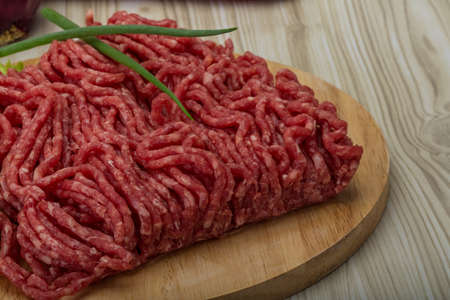 Raw minced beef with onion - ready for cooking