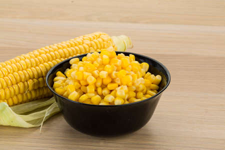 Sweet marinated corn in the bowl photo