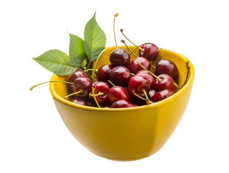 gean: Gean - sweet cherry berries isolated on white
