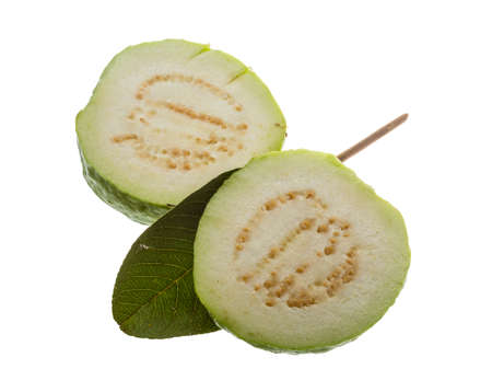 Fresh ripe green guava isolated Stock Photo