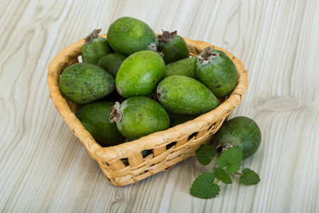 feijoa: Feijoa in the bowl on wooden background