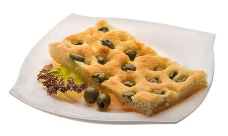 Olive bread with leaf and oil photo