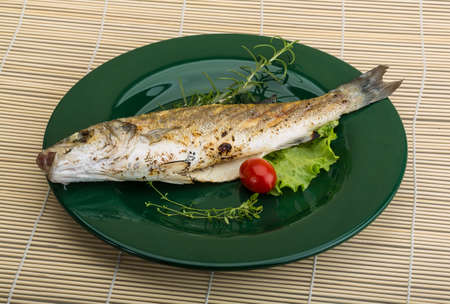 seabass: Grilled seabass fish - with rosemary and thyme Stock Photo