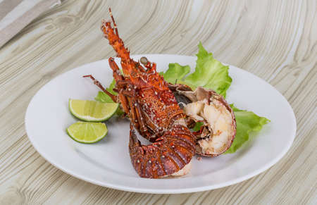 langouste: Spiny lobster grilled with lime and spices Stock Photo