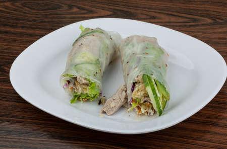 Vietnamese spring roll with pork, shrimp and vegetables