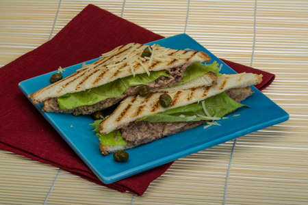 alcaparras: S�ndwich de at�n con ensalada de hojas y alcaparras