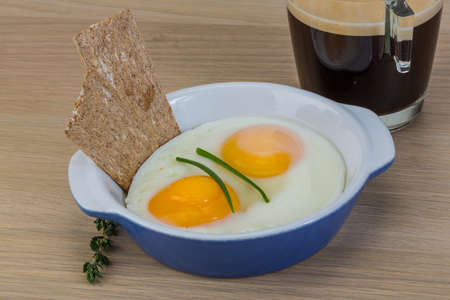 omlet: Breakfast with eggs, crisp and coffee espresso Stock Photo