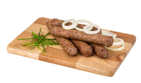 seekh: Kebab grilled with raw onion rings Stock Photo