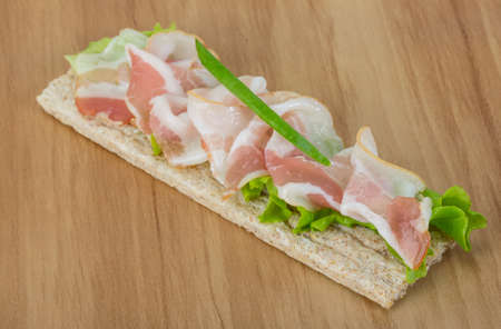 bap: Bacon sandwich with crisp and salad leaves