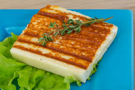 haloumi: Deep Fried cheese with thyme and salad
