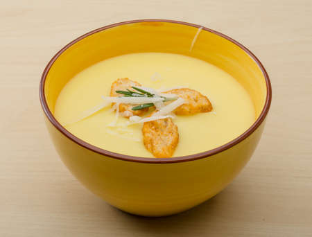 potato soup: Cheese soup with crutoons and fresh herbs Stock Photo