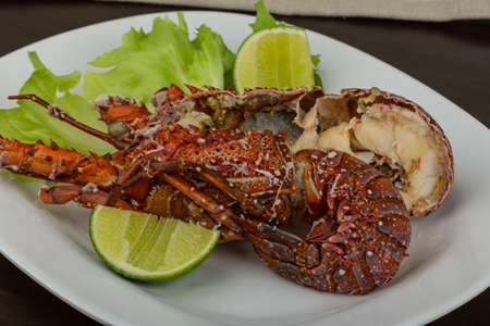 spiny lobster: Spiny lobster grilled with lime and spices Stock Photo