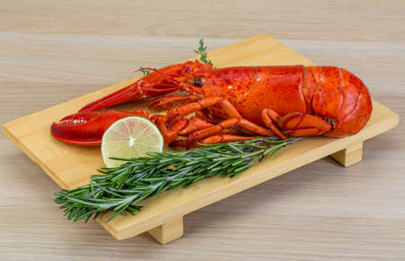 lobster tail: Boiled lobster served with thyme and rosemary Stock Photo