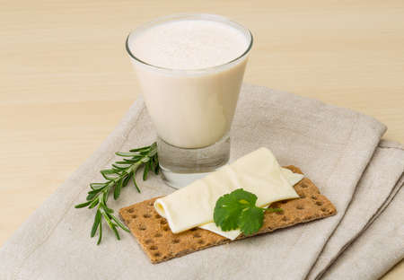 dairy products: Traditional dietary dairy produkt kefir with napkin and bread Stock Photo