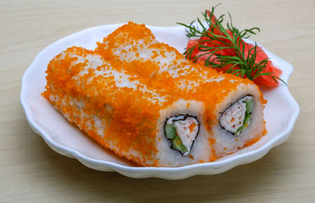 california roll: California roll - japan cousine with ginger and vasabi