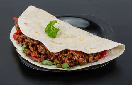 burrito: Burrito with minced meat and red beans