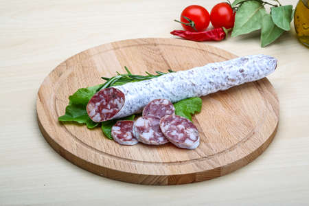 Spanish sausage - fuet salami with rosemary and salad photo