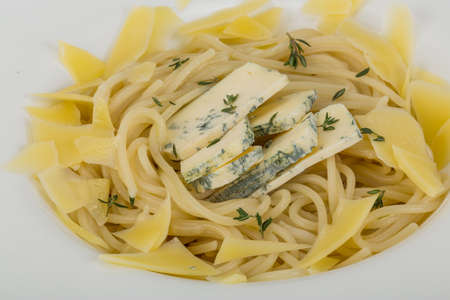 Blue Cheese pasta with parmesan and thyme photo