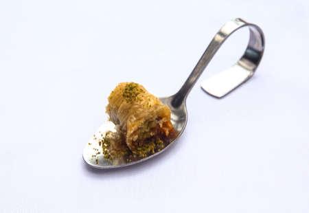 baklava: Turkey baklava on the special dessert spoon Stock Photo