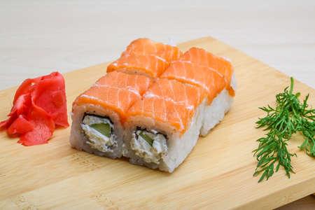 philadelphia roll: Philadelphia roll - japan cousine with ginger and vasabi Stock Photo