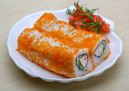 philadelphia roll: California roll - japan cousine with ginger and vasabi