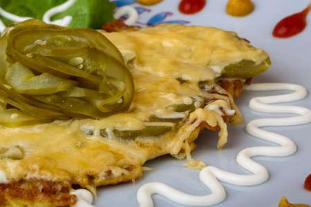 schnitzel: Pork schnitzel with mustard and cheese sauce