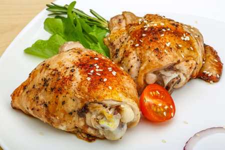 thighs: Roasted chicken thighs with herbs and spices