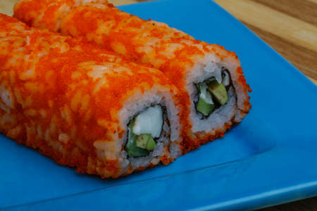 california roll: California roll - japan cousine with crab meat
