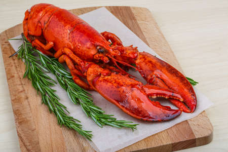 lobster dinner: Fresh boiled lobster with rosemary on the wood background