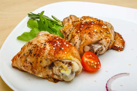 grill chicken: Roasted chicken thighs with herbs and spices
