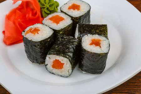 wasabi: Fresh cold Salmon maki with ginger and wasabi