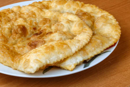 pasty: Cheburek - traditional Caucasian dish with meat and herbs