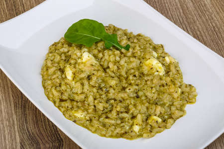 ruccola: Risotto with pesto, ruccola leaf and soft cheese