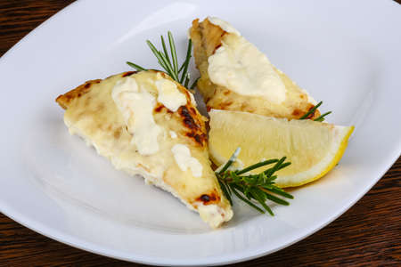 perch: Baked perch fillet with rosemary and lemon