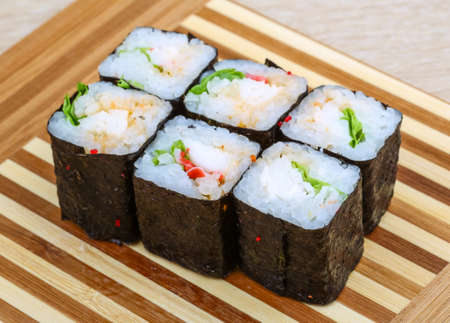 crab meat: Japan traditional cold Roll with crab meat Stock Photo