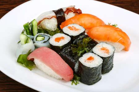 sushi: Japan traditional Sushi, sashimi and rolls set Stock Photo