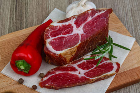 chuck: Smoked Chuck steak with pepper, rosemary and garlik Stock Photo