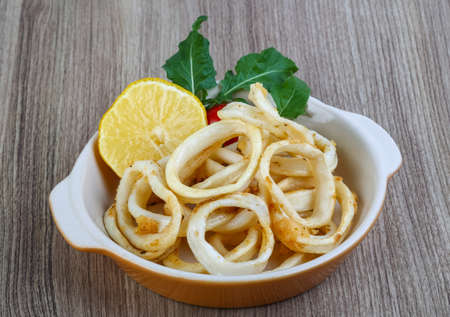 calamares: Fried squid rings with lemon, herbs and spices