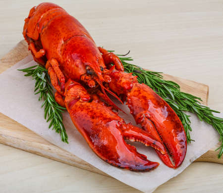 lobster tail: Boiled lobster with rosemary on the wood background