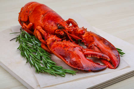 lobster tail: Fresh boiled lobster with rosemary on the wood background