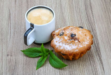 cup cakes: Espresso Coffee with cup cake served mint leaves