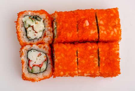 california roll: Japan traditional cusine - fresh cold California roll Stock Photo