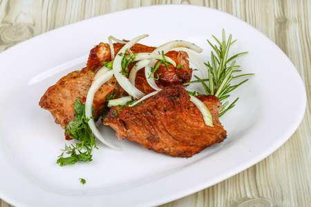 shashlik: Hot Pork Shashlik with onion rings and spices