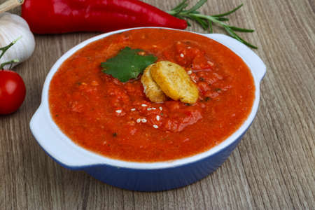gazpacho: Spanish traditional soup - Gazpacho with croutons and parsley Stock Photo