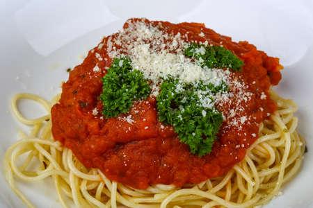 Napoli: Pasta Napoli with parmesan cheese and tomato sauce Stock Photo
