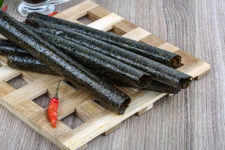 nori: Japan traditional cuisime - Seaweed nori rolls snack chips Stock Photo