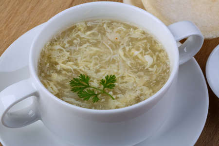 dill leaves: Traditional Asian Сrab meat soup wih dill leaves