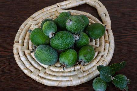 feijoa: Fresh ripe sweet Feijoa fruit with leaves