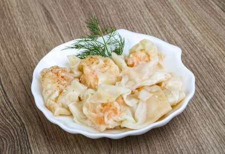 dill leaves: Shrimp wanton with dill leaves - traditional asian cusine Stock Photo