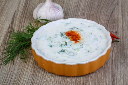 tzatziki: Greek traditional cuisine - Tzatziki with cucmber and dill